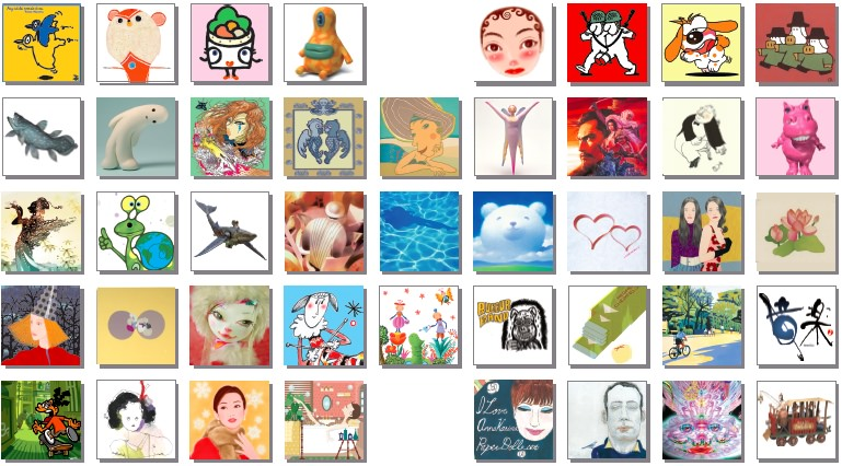 Over 50 pieces of artwork from 43 artists flown over from Japan